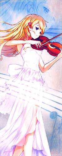 Аватар вконтакте Каори Миядзоно / Мiyazono Кaori из аниме Твоя апрельская ложь / Shigatsu wa Kimi no Uso улыбается и играет на скрипке в белом платье