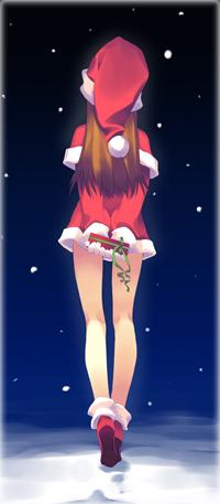 Аватар вконтакте Девушка в новогоднем костюме с подарком в руках идет по снегу