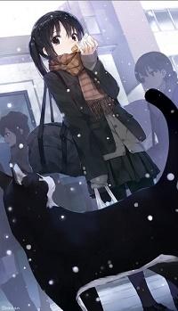 Аватар вконтакте Кот смотрит на Адзусу Накано / Azusa Nakano из аниме Кэйон! / K-On! / Легкая музыка / Клуб легкой музыки, которая ест пирожок на улице под падающим снегом и косится на него