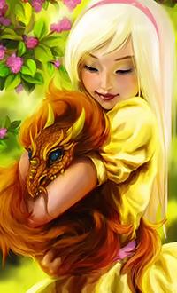 Аватар вконтакте На фоне цветущей магнолии девушка держит на руках огненно-красного дракончика, работа Sunny Dragon / Солнечный дракон, art Tsvetka