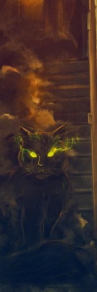 Аватар вконтакте Черный кот с дымчатыми глазами
