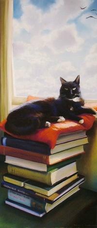 Аватар вконтакте Кошка лежит на стопке книг