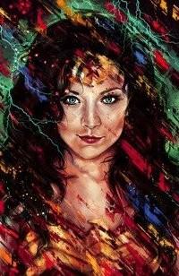 Аватар вконтакте Девушка со звездой на лбу, на абстрактном фоне, исходник by moishpain