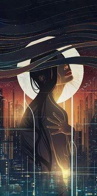 Аватар вконтакте Обнаженная девушка с распущенными черными волосами на фоне ночного города и неба с полной луной