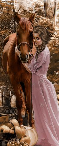 Аватар вконтакте Девушка стоит рядом с лошадью
