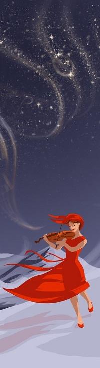Аватар вконтакте Девушка со скрипкой идет по снегу, by Earlinwe