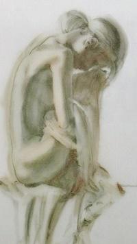 Аватар вконтакте Обнаженная грустная девушка сидит на стуле, by Charles Willmott