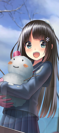 Аватар вконтакте Девушка со снеговиком на руках