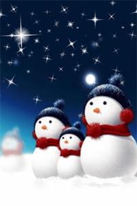 Аватар вконтакте Семья снеговиков наблюдает за мерцающими звездами