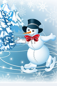 Аватар вконтакте Снеговик катается на коньках