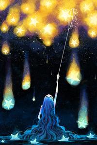 Аватар вконтакте Девушка ловит сачком звезды, by minayuyu