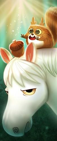 Аватар вконтакте Белочка сидит на белой лошади