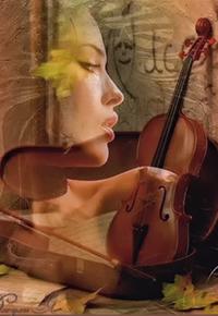 Аватар вконтакте Портрет девушки на фоне раскрытого футляра со скрипкой и смычком, рассыпананных нот и осенних листьев, автор Джулия