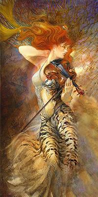 Аватар вконтакте Рыжая девушка со скрипкой в руке, художница Елена Сотскова