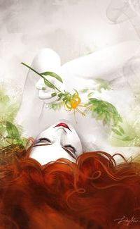Аватар вконтакте Рыжеволосая девушка лежит на спине и держит в руке цветок, исходник by Sakimi chan