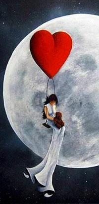 Аватар вконтакте Девушка летит на сердечке на фоне луны, держа в руках плюшевого медвежонка