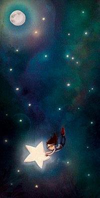 Аватар вконтакте Девочка летает по звездному небу держась за большую зведу
