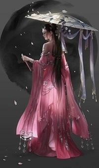 Аватар вконтакте Девушка в розовом платье и с зонтиком под дождем из лепестков цветов сакуры
