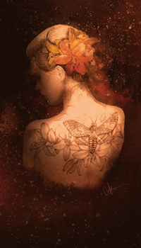 Аватар вконтакте Девушка с цветами в волосах и тату на спине, art Marine Loup