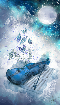Аватар вконтакте Мелодия скрипки бабочками летит в небо лунной ночью, art Marine Loup