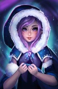 Аватар вконтакте Девушка в шубке с капюшоном под ночным небом с северным сиянием