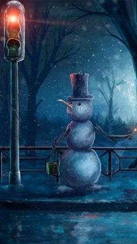 Аватар вконтакте Снеговик ждет зеленый сигнал светофора