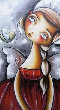 Аватар вконтакте Девушка - ангел с заплетенной косой и птичка рядом