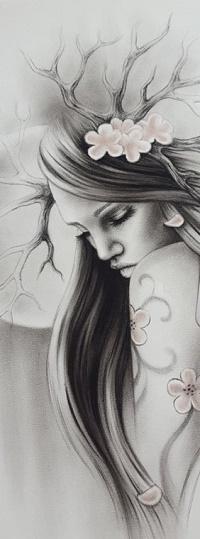 Аватар вконтакте Девушка рогами и цветами на голове