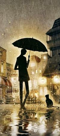 Аватар вконтакте Парень с зонтом стоит рядом с котом на дороге