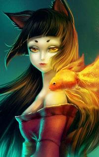 Аватар вконтакте Девушка - кошка с золотой рыбкой у плеча