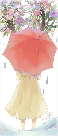 Аватар вконтакте Девушка с красным зонтом в руках стоит в воде возле цветущего дерева