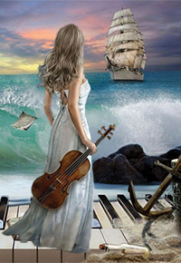 Аватар вконтакте Под громкую музыку прибоя, девушка со скрипкой в руке встречает парусник, by AliaChek
