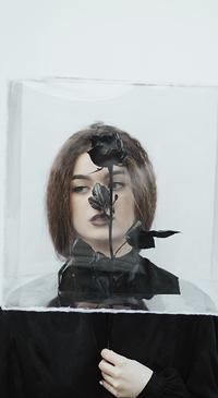 Аватар вконтакте Сквозь глыбу льда видна верхняя часть девушки, держащей в руке черную розу, by thefirebomb