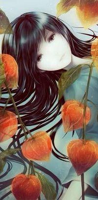 Аватар вконтакте Восточная девушка среди красных цветов