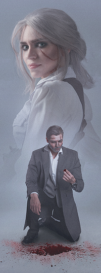 Аватар вконтакте Мужчина припав на одно колено на фоне девушки, The Witcher - Noir - Wild Hunt / Ведьмак - Noir - Дикая охота, by MilliganVick