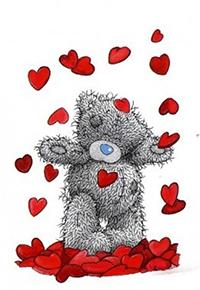 Аватар вконтакте Плюшевый медвежонок Тедди стоит под сердцепадом