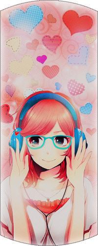 Аватар вконтакте Девушка в очках слушает музыку и улыбается, а на заднем фоне сердечки