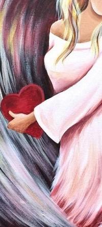 Аватар вконтакте Девушка-ангел с сердечком в руке