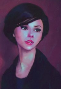 Аватар вконтакте Портрет миловидной девушки на пурпурном фоне