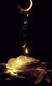 Аватар вконтакте С лежащего в воде мальчика поднимаются к полумесяцу светящиеся бабочки