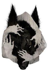 Аватар вконтакте Четыре человеческие руки обнимают голову черного волка, обложка музыкального произведения Sadistik & Kno – Phantom Limbs (interlude)