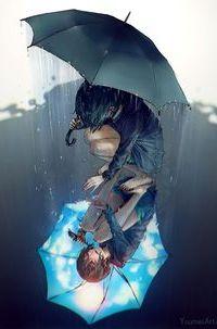 Аватар вконтакте Девушка под раскрытым зонтом присела и протянула руку к своему отражению в луже воды, by yuumei