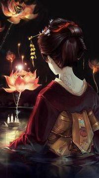 Аватар вконтакте Девушка в восточном национальном наряде стоит в воде и смотрит на руку, протянутую с воды и светящиеся лотосы,