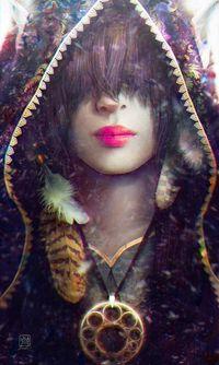 Аватар вконтакте Девушка с украшениями в виде амулета и перьев, в капюшоне и с напущенными на глаза волосами, by Tincek-marincek