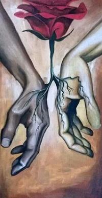 Аватар вконтакте Бордовая роза между руками парня и девушки
