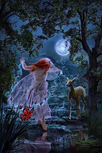 99px.ru аватар В ночь полнолуния фея в окружении волшебных бабочек любуется своим отражением в лесном озере, by Energiaelca1