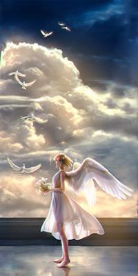 Аватар вконтакте Девушка-ангел стоит с цветами в руках на фоне взлетающих в небо белых голубей, by Takaki