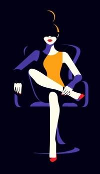 Аватар вконтакте Девушка на черном фоне сидит в кресле положив нога на ногу