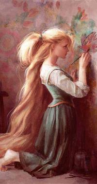 Аватар вконтакте Девушка с длинными волосами рисует красками на стене птицу