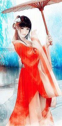 Аватар вконтакте Восточная девушка в красных одеждах держит в руках раскрытый зонтик, by Phoenixlu